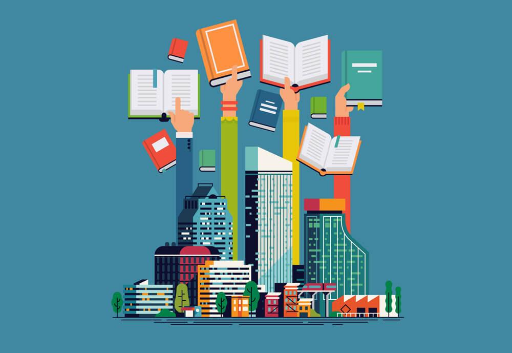 Smart Art, Stadt mit Büchern