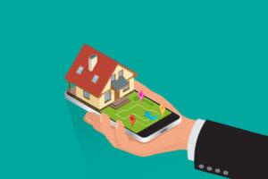 Smartphone mit Haus