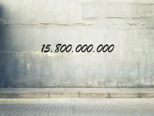 Zahl auf Betonwand