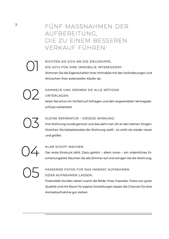 Erste Seite der Checkliste: Aufbereitung der Immobilie