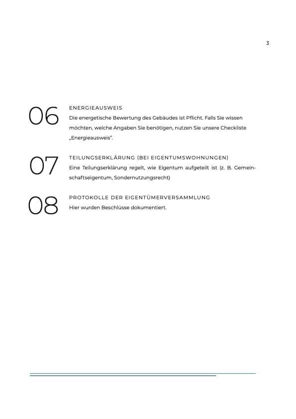 Erste Seite der Checkliste: Immobilie Verkaufen