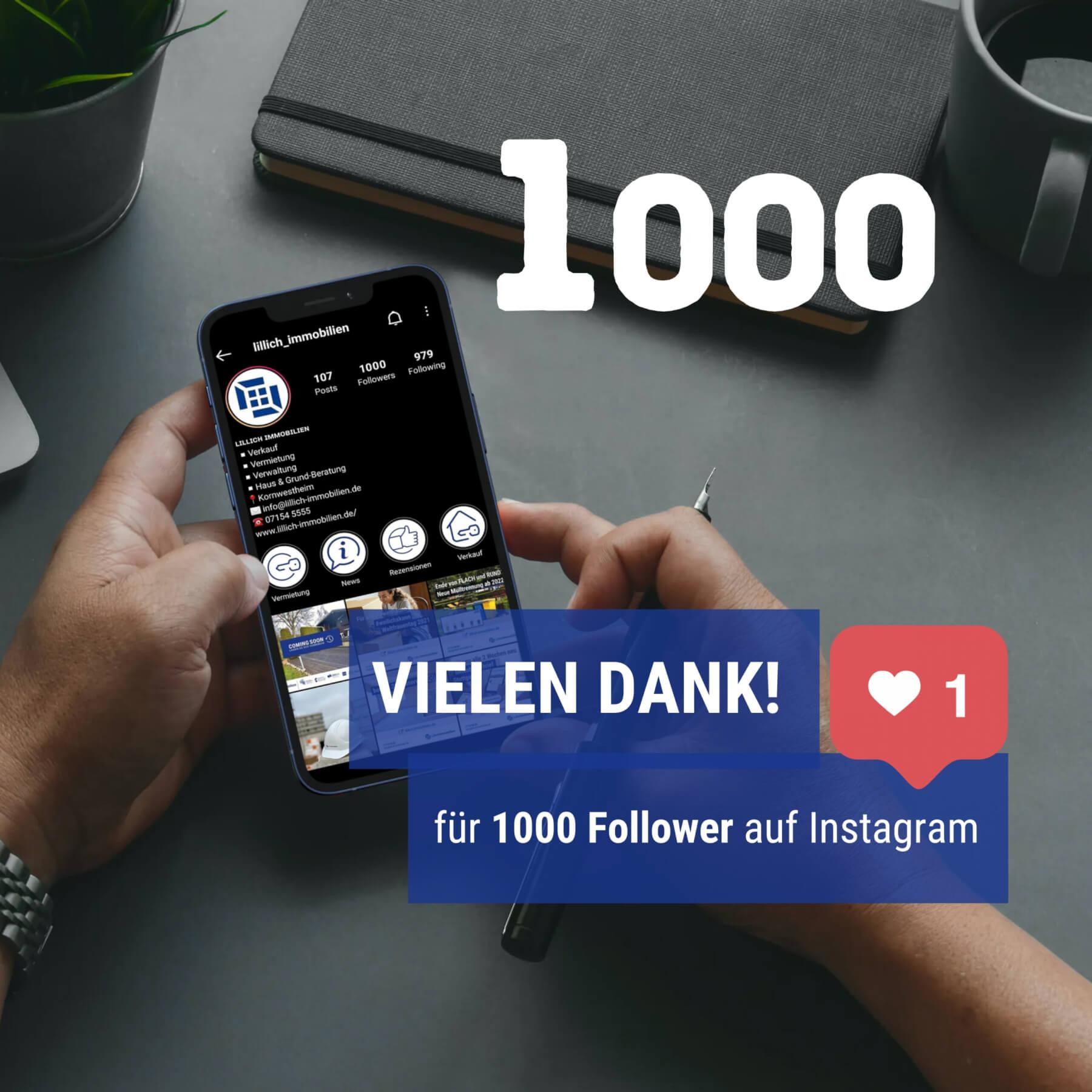 Vielen Dank für 1000 Follower auf Instagram